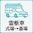 霊柩車式場→斎場